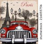 paris retro poster.   Shutterstock .eps vector #216055756
