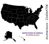 usa states map vector image  ... | Shutterstock .eps vector #216064708