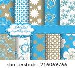 set of vector abstract flower... | Shutterstock .eps vector #216069766