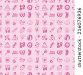 seamless doodle baby pattern | Shutterstock .eps vector #216076936