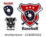 retro baseball sport emblems or ... | Shutterstock .eps vector #216083362