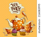 Tea Party Invitation Card With...