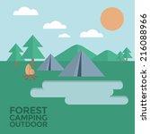 forest camping outdoor vector | Shutterstock .eps vector #216088966