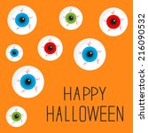 eyeball set with bloody streaks.... | Shutterstock . vector #216090532