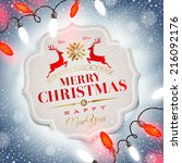 christmas card with holiday... | Shutterstock .eps vector #216092176