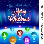 christmas vector illustration   ... | Shutterstock .eps vector #216092182