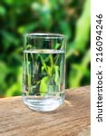 glass of water on nature... | Shutterstock . vector #216094246