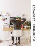 desk of creative worker.   ... | Shutterstock . vector #216094375