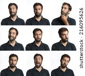 young man face expressions with ... | Shutterstock . vector #216095626
