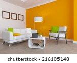 orange interior with white...   Shutterstock . vector #216105148