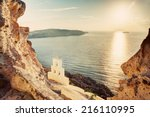 cliff  volcanic rocks and a... | Shutterstock . vector #216110995