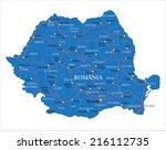 romania map | Shutterstock .eps vector #216112735