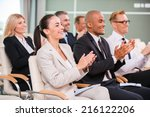 applauding to speaker. group of ... | Shutterstock . vector #216122206