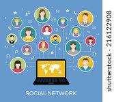 social media network concept...   Shutterstock .eps vector #216122908