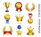 award icons set of trophy medal ... | Shutterstock .eps vector #216125332