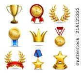 award icons set of trophy medal ... | Shutterstock .eps vector #216125332