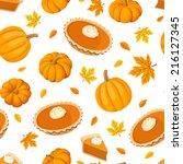 seamless pattern with pumpkin... | Shutterstock .eps vector #216127345