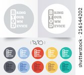 byod sign icon. bring your own... | Shutterstock . vector #216144202