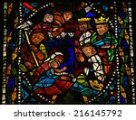LEON, SPAIN - JULY 17, 2014: Stained glass window depicting a Nativity Scene with the Three Magi from the East in the cathedral of Leon, Castille and Leon, Spain. - stock photo