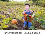 happy kid sitting on pumpkin's... | Shutterstock . vector #216151516