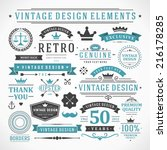 vintage vector design elements. ... | Shutterstock .eps vector #216178285