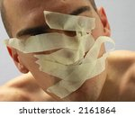 man with mouth covered by... | Shutterstock . vector #2161864