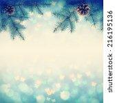 christmass background with fir... | Shutterstock . vector #216195136