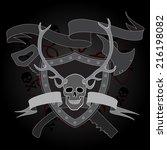 horned skull coat of arms with... | Shutterstock .eps vector #216198082