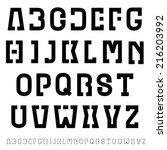vector black simple font... | Shutterstock .eps vector #216203992