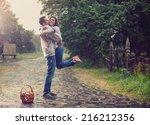 happy young couple in ukrainian ... | Shutterstock . vector #216212356