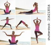collage of different yoga poses ... | Shutterstock . vector #216213016