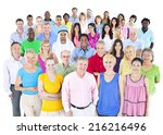 large multi ethnic group of... | Shutterstock . vector #216216496