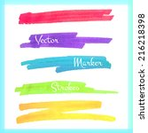 color stripes drawn with... | Shutterstock .eps vector #216218398