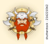 coat of arms  head of a viking... | Shutterstock .eps vector #216221062