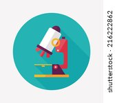microscope flat icon with long... | Shutterstock .eps vector #216222862