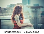 young beautiful hipster woman...   Shutterstock . vector #216225565