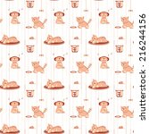 seamless pattern with funny... | Shutterstock .eps vector #216244156