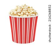 popcorn in striped bucket on... | Shutterstock . vector #216268852