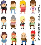 set of cute character icons  | Shutterstock .eps vector #216278962