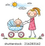 mother and baby on a walk | Shutterstock .eps vector #216283162