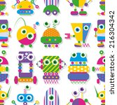 cute big eyed robots collection ... | Shutterstock . vector #216304342