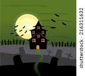 a green halloween background... | Shutterstock .eps vector #216311632