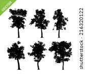 tree silhouettes vector | Shutterstock .eps vector #216320122
