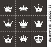 vector black crown icons set on ... | Shutterstock .eps vector #216321436
