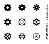 vector black gear icons set on... | Shutterstock .eps vector #216322312