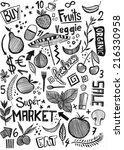market food doodle | Shutterstock . vector #216330958