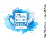 Vector Christmas watercolor background with calligraphic logo. New Year card.