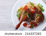 duck legs roasted with apples... | Shutterstock . vector #216337282