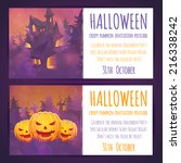 set of halloween banners with... | Shutterstock .eps vector #216338242