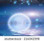 moonrise over water | Shutterstock . vector #216342598
